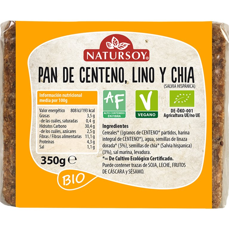 Pan de Centeno con Lino y Chia Bio 350g