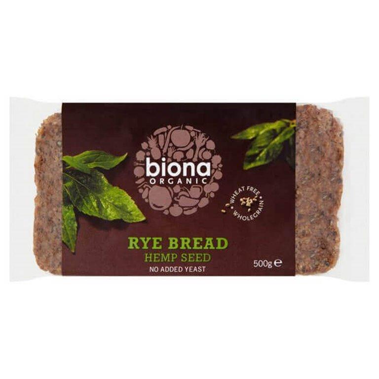 Pan de Centeno con Semillas de Cáñamo - Biona, 500 gr