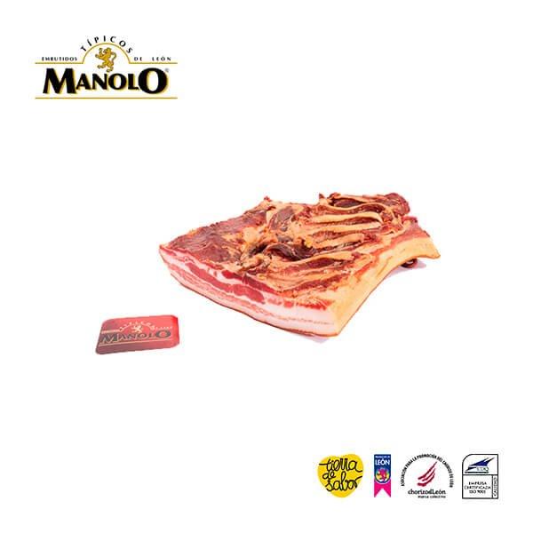 Panceta de cerdo curada y ahumada