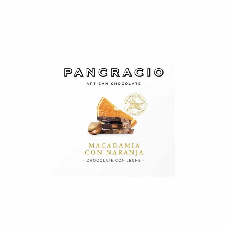 Pancracio, Tableta Chocolate con Leche, Naranja y Nueces de Macadamia 45g
