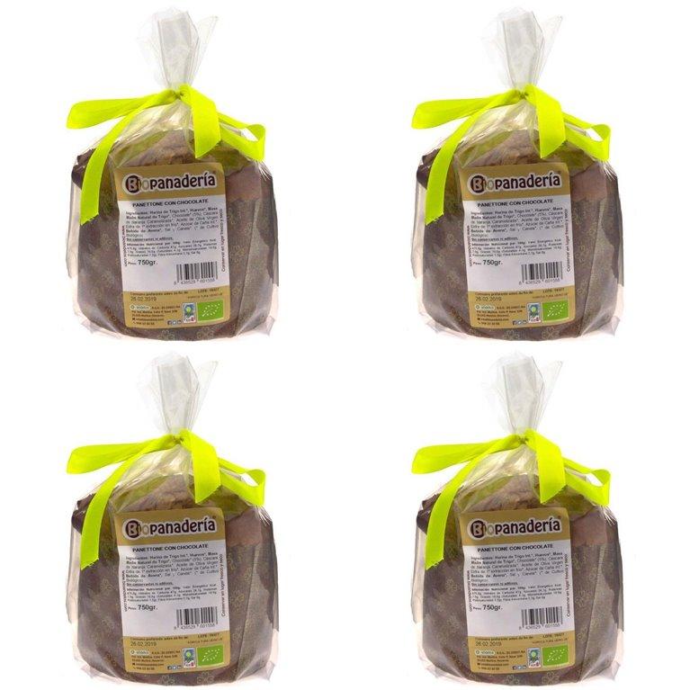 Panettone con Chocolate Ecológico 3Kg (4Uds. x 750g) de Elaboración Artesanal, 1 ud