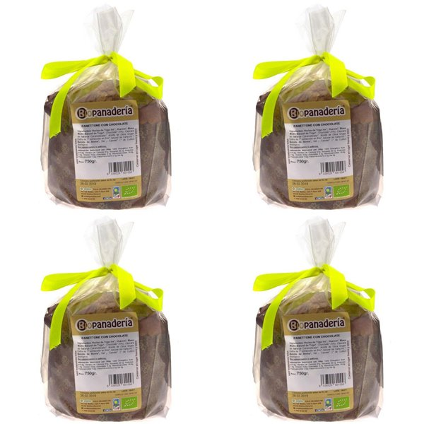 Panettone con Chocolate Ecológico 3Kg (4Uds. x 750g) de Elaboración Artesanal