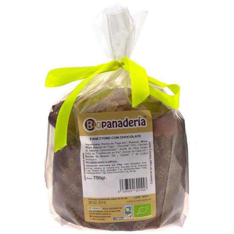 Panettone con Chocolate Ecológico 750g de Elaboración Artesanal, 1 ud