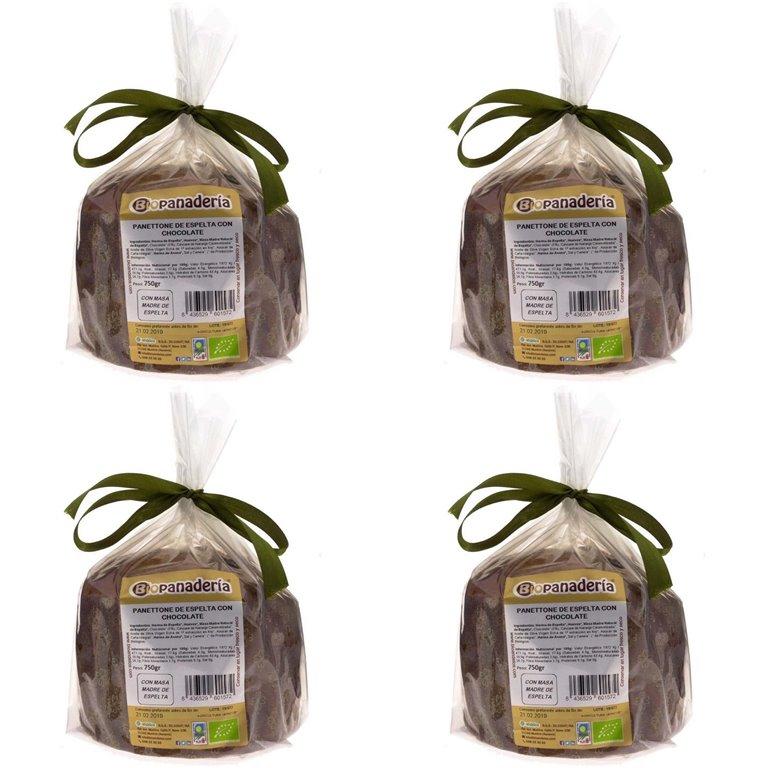 Panettone de Espelta con Chocolate Ecológico 3Kg (4 Uds. x 750g) de Elaboración Artesanal, 1 ud