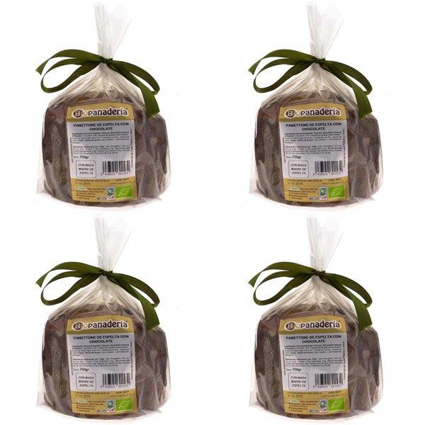 Panettone de Espelta con Chocolate Ecológico 3Kg (4 Uds. x 750g) de Elaboración Artesanal