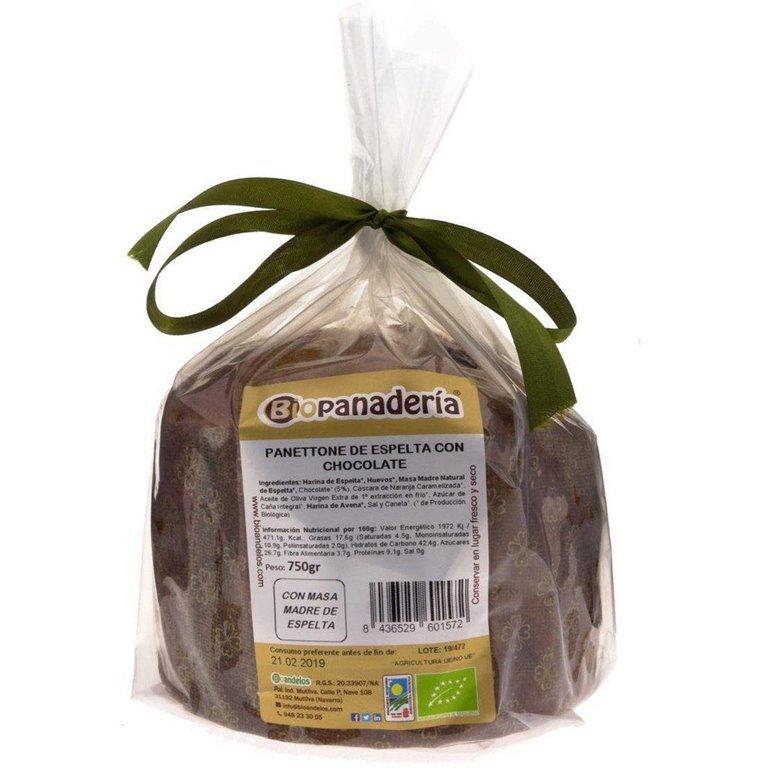 Panettone de Espelta con Chocolate Ecológico 750g de Elaboración Artesanal, 1 ud