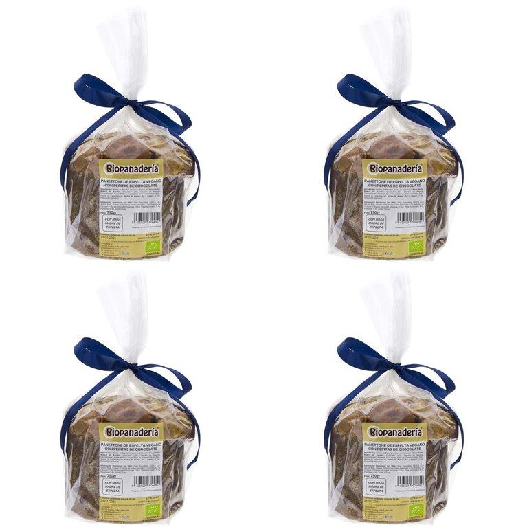 Panettone VEGANO de Espelta con Chocolate Ecológico 3Kg (4 Uds. x 750g) de Elaboración Artesanal, 1 ud