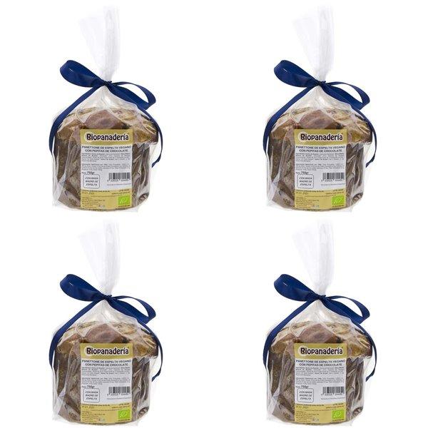 Panettone VEGANO de Espelta con Chocolate Ecológico 3Kg (4 Uds. x 750g) de Elaboración Artesanal