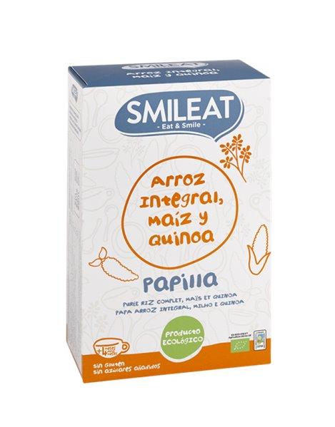 Papilla ecológica de arroz integral, maíz y quinoa. Sin Gluten