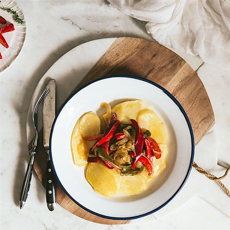 Patatas a lo pobre con pimientos y cebolla - 350 g., 1 ud