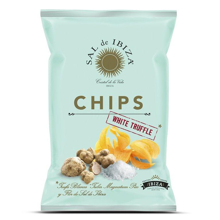 Patatas Chips con Trufa Blanca y flor de Sal de Ibiza 125gr. Sal de Ibiza. 12un., 1 ud