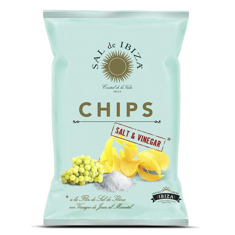Patatas Chips con Vinagre de Jerez Moscatel y flor de Sal de Ibiza 125gr. Sal de Ibiza. 12un., 1 ud