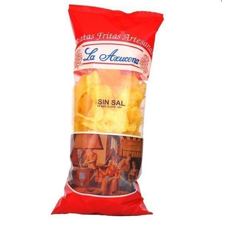 Patatas fritas SIN SAL Artesanas La Azucena. Bolsa de 250g