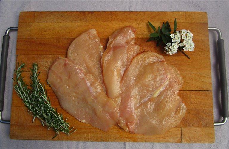 Pechugas fileteadas de pollo de pasto