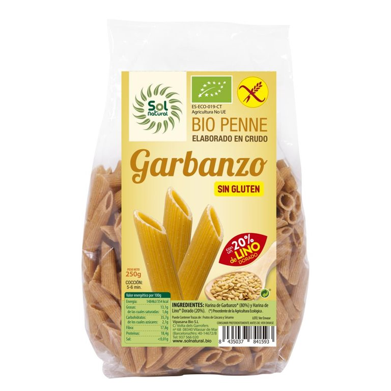 Penne de Garbanzo con Lino Sin Gluten Bio 250g