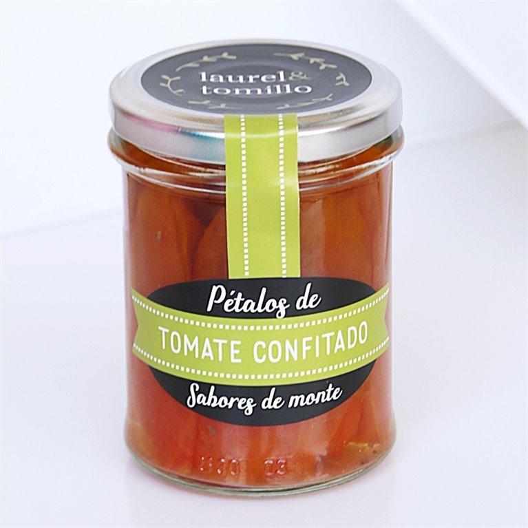 Pétalos de tomate confitado