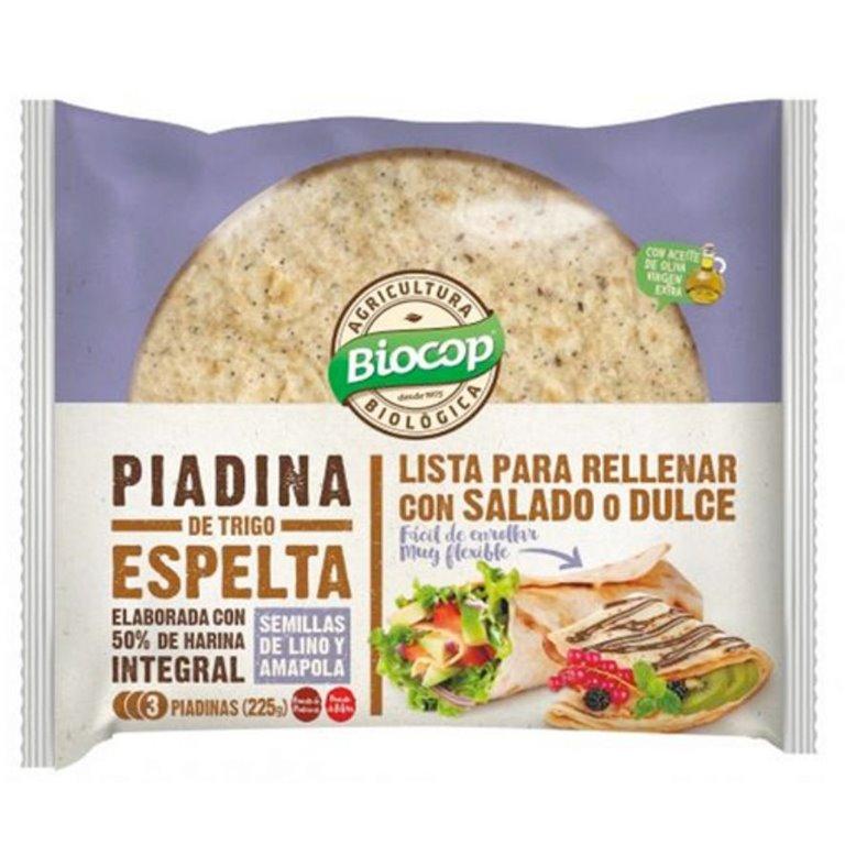 Piadina de Trigo Espelta con Semillas de Lino y Amapola Bio 225g