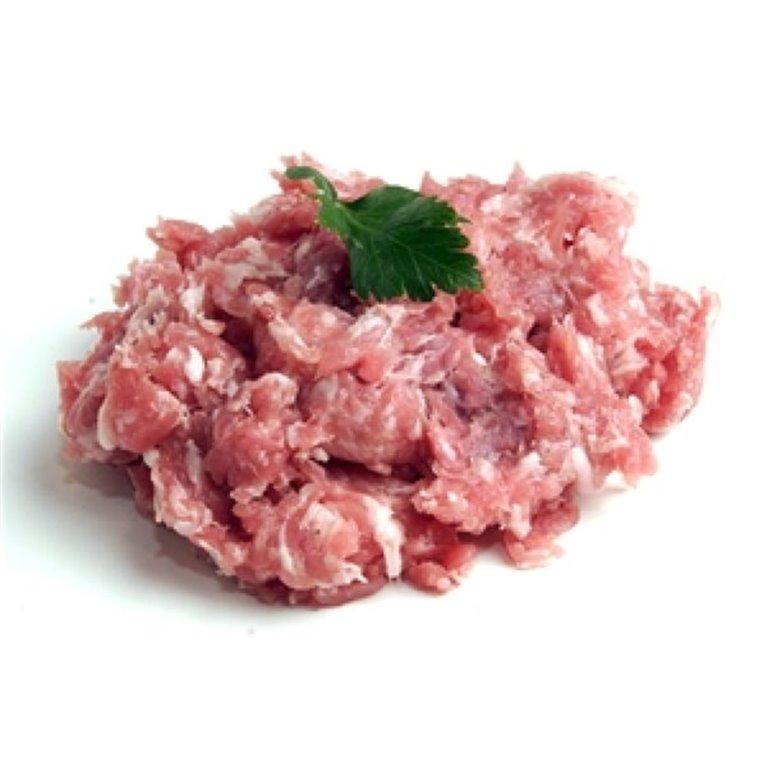 Carne picada de cerdo fresca