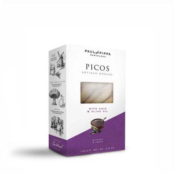 Picos con Chía y Aceite de Oliva  Paul and Pippa 140 gr.