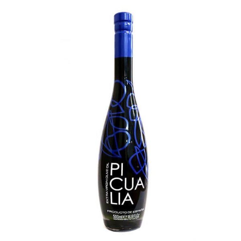 Picualia Premium Blue. Aceite de oliva Picual. RESERVA. Botella 500 ML.