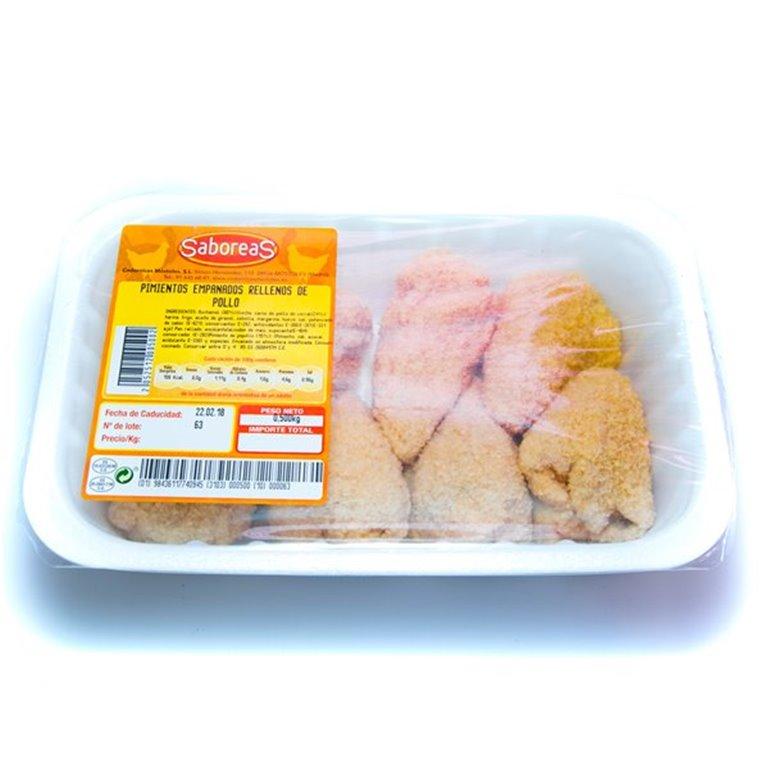 Pimientos empanados rellenos de pollo (cada bandeja contiene 500 gr aproximadamente), 1 ud