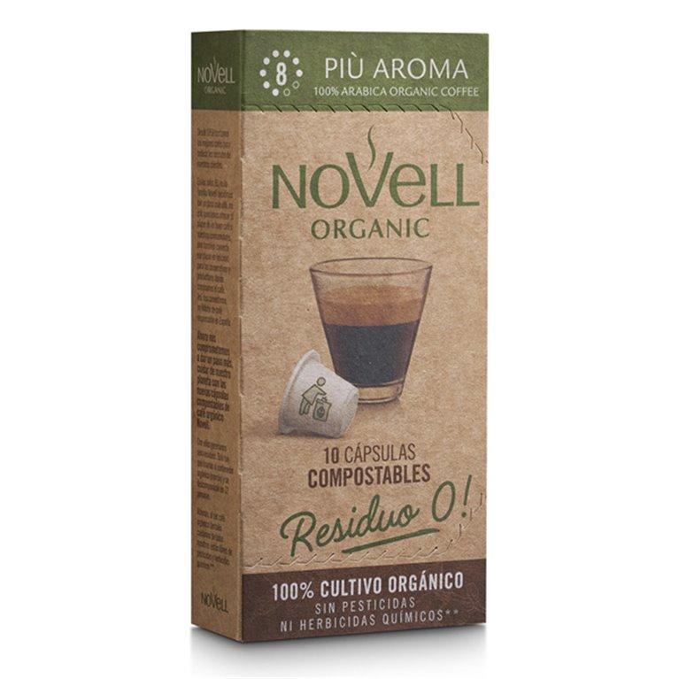 PIÙ AROMA - Cápsulas de café orgánico, compostables y compatibles Nespresso®, 10 ud