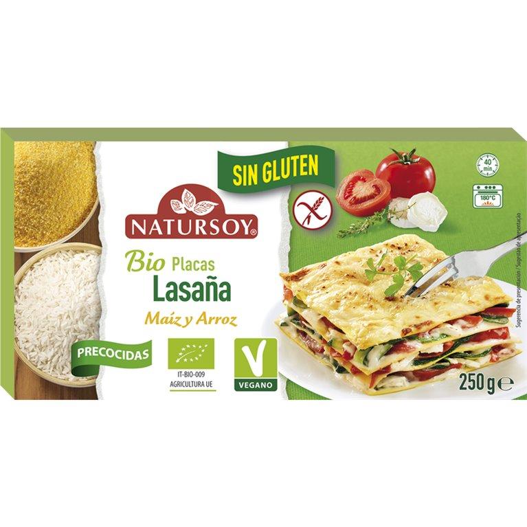 Placas de Lasaña de Maíz y Arroz Sin Gluten Bio 250g
