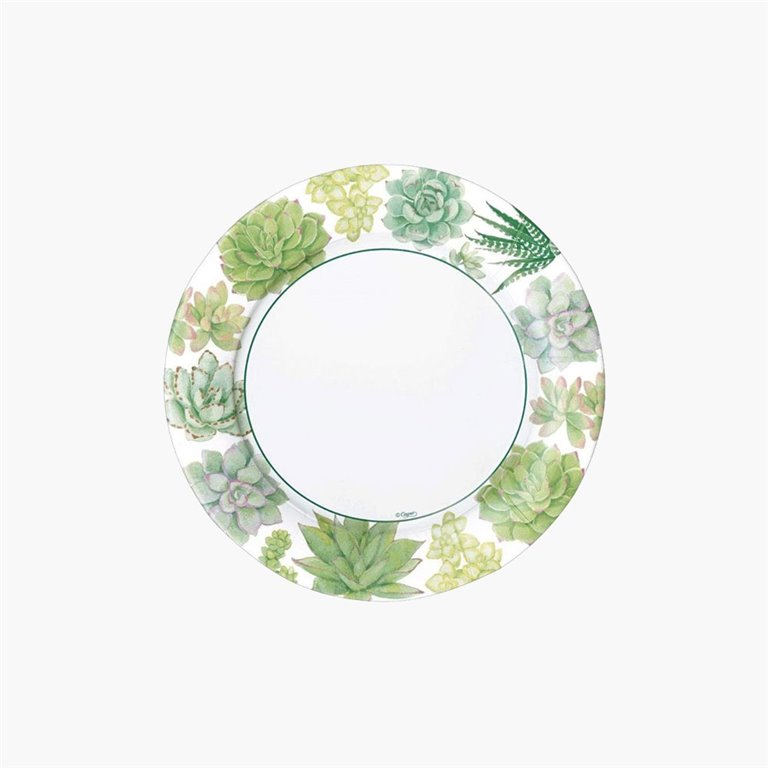 Plato de Cena 26,7cm Succulents, 8uds, Caspari