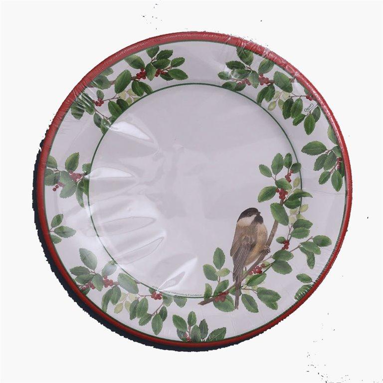 Plato de Cena 26,7cm Winter Songbirds, 8uds, Caspari