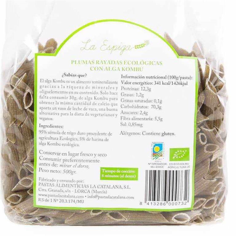 Plumas rayadas BIO con alga kombu - 500 g - La Espiga