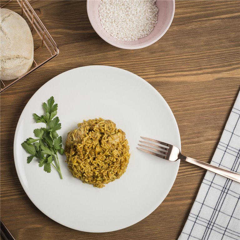 Pollo con arroz al curry - 350 g, 1 ud