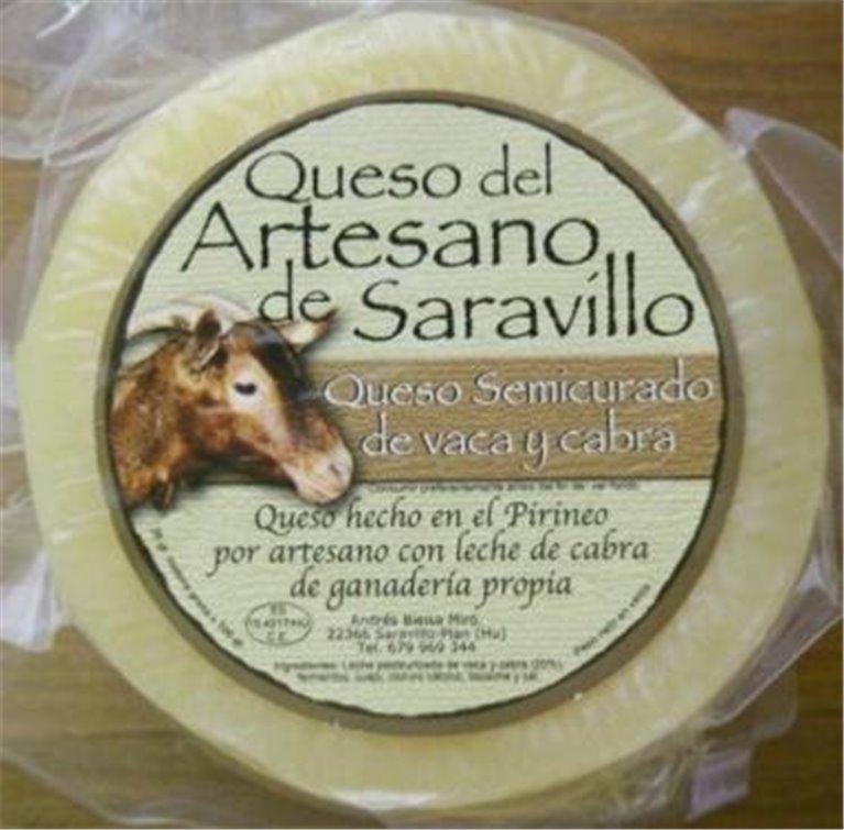 Queso Saravillo Vaca-Cabra Semicurado, 1 ud