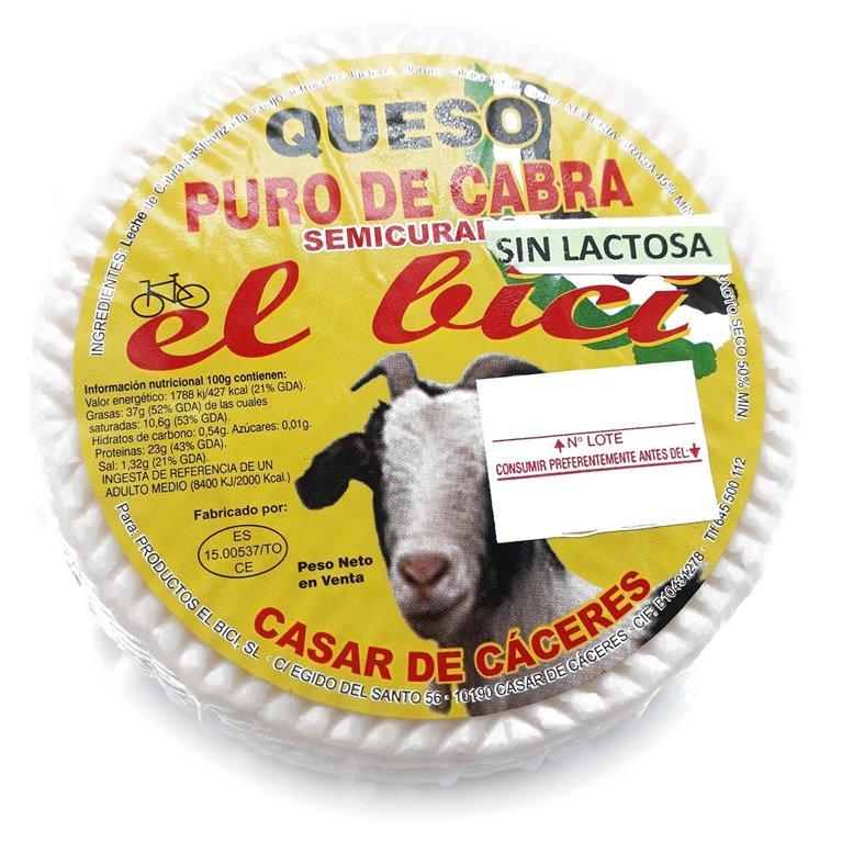 """Queso Sin Lactosa Semicurado De Cabra """"El Bici"""" Mini, 300 gr"""