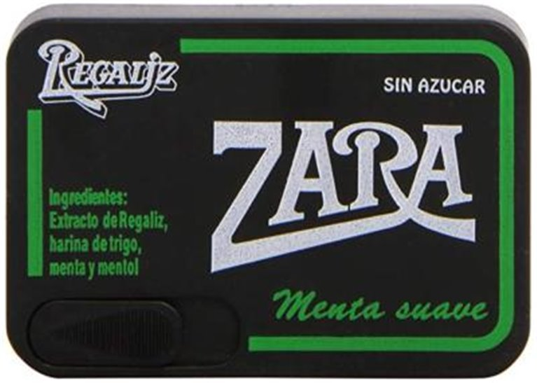 Regaliz Zara cajita menta, 1 ud