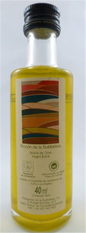 Rincón de la Subbetica. Aceite de oliva Ecológico Hojiblanca. 40 ml. Caja de 126 uds., 1 ud
