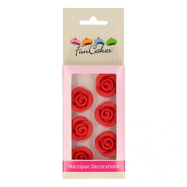 Red marzipan roses