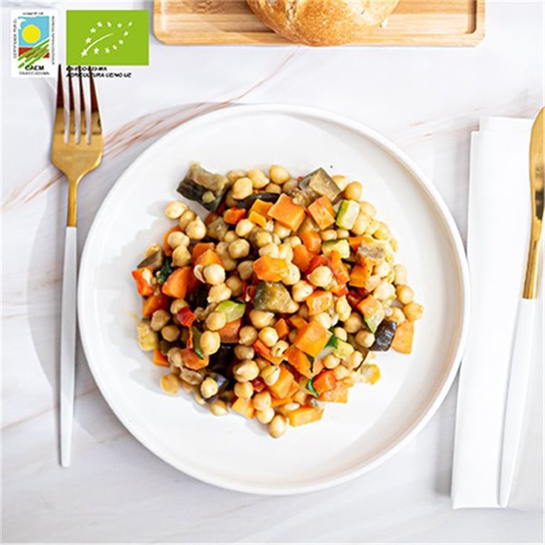 Organic chickpea and seasonal vegetables stir-fry