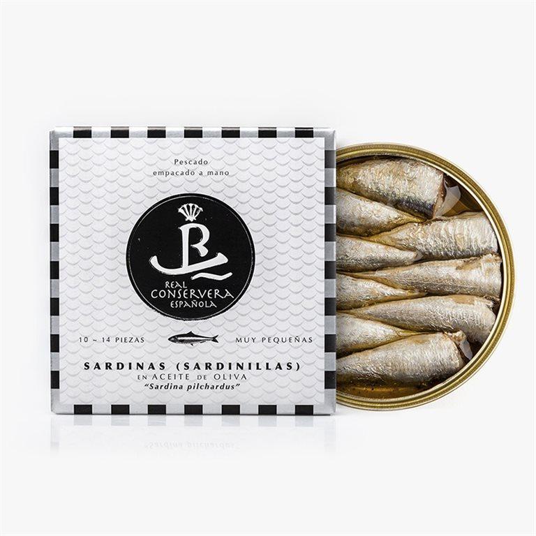 Sardinas (Sardinillas) en aceite de oliva 14/18 piezas. Real Conservera Española