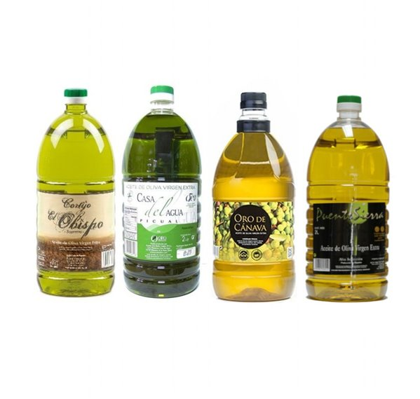 Selección cuatro aceites de Jaén. 4 garrafas de 2 Litros