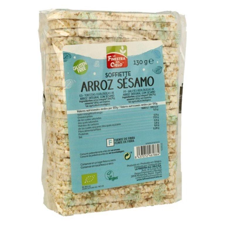 Soffiette de Arroz Integral con Sésamo Sin Gluten Bio 130g, 1 ud