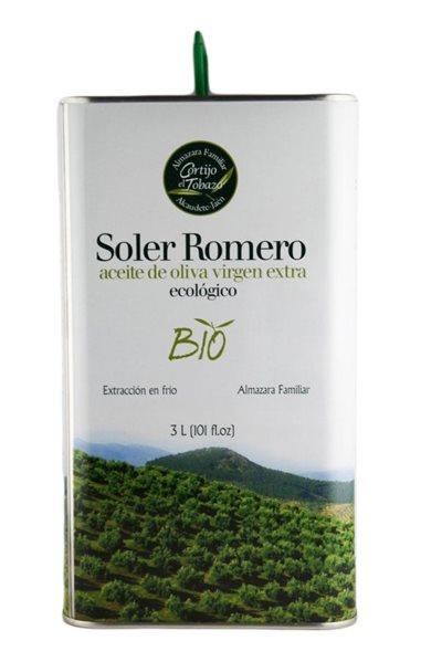 Soler Romero Bio. Aceite de oliva Ecologico Picual. Lata de 3 litros.
