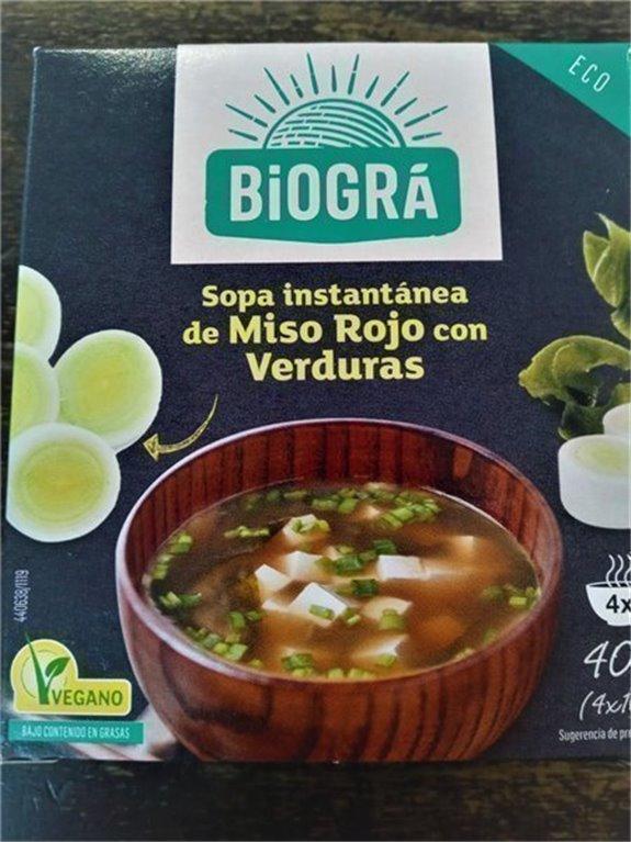 Sopa de miso rojo con alga wakame bio 4 sobres