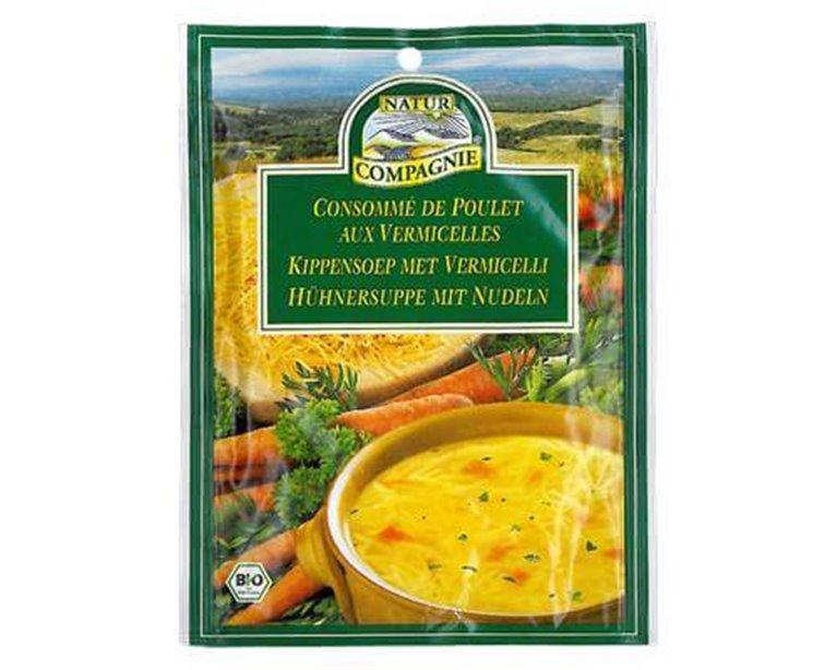 Sopa de pollo con fideos, 40 gr