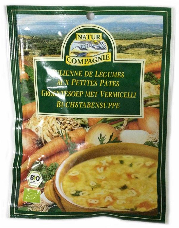 Sopa de verduras con pasta, 40 gr