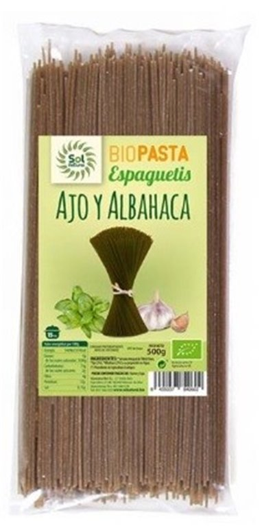 Spaghetti de Trigo Duro Integral con Ajo y Albahaca Bio 500g