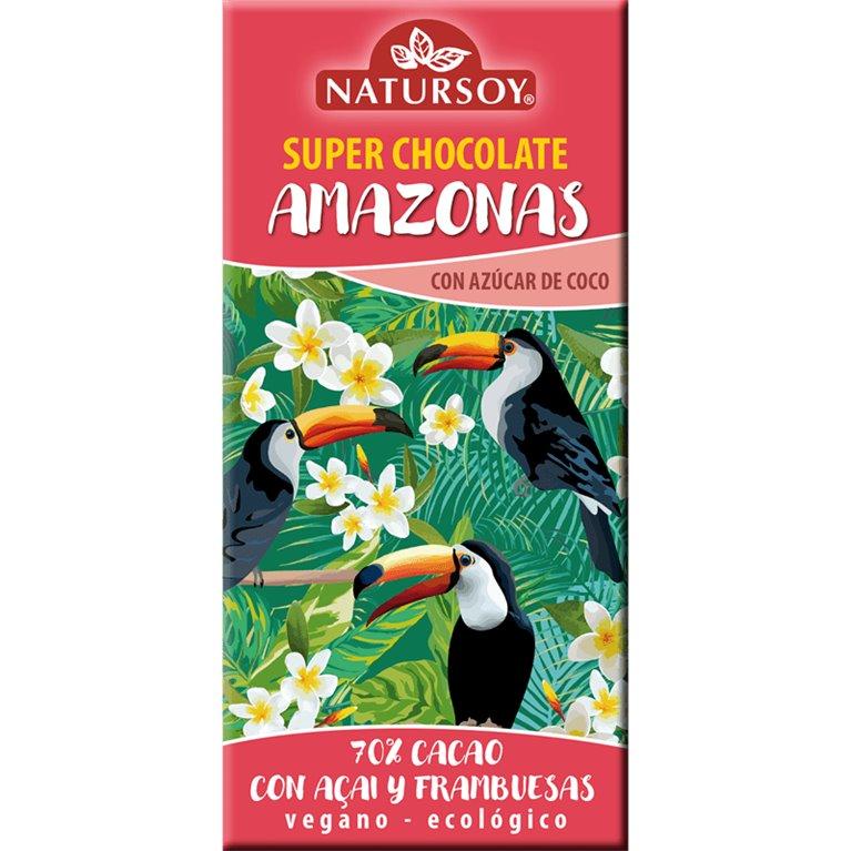 Super Chocolate Amazonas 70% Cacao con Açai y Franbuesas Bio 100g
