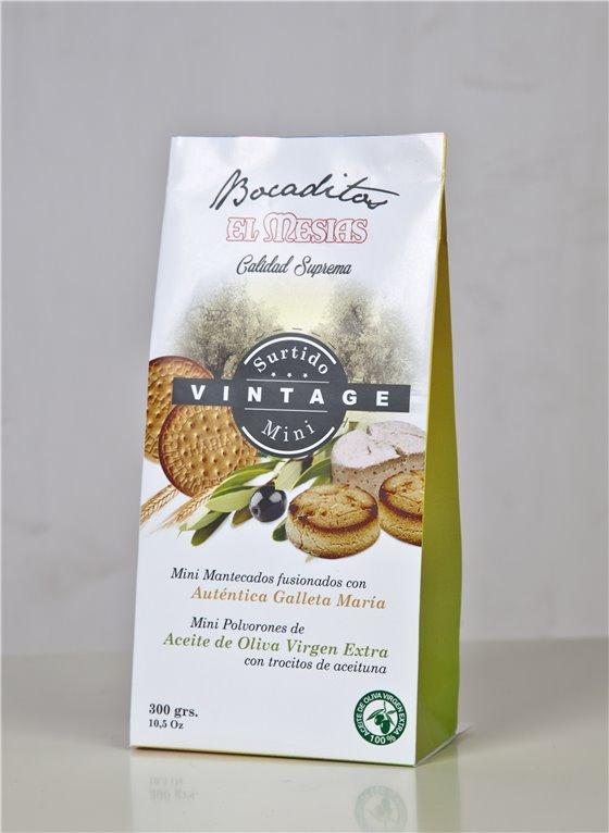 Surtido vintage de polvorones minis de aceite de oliva virgen extra y galleta (300 gr)