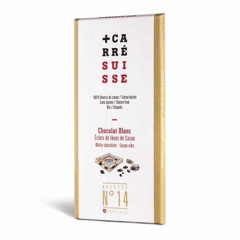 Tableta Chocolate Blanco & Nibs de Cacao 100gr. Carré Suisse. 10un., 1 ud