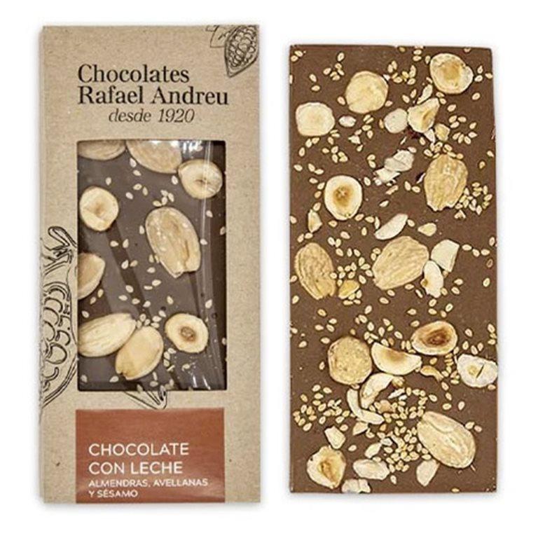 Tableta de chocolate con leche, almendras, avellanas y sésamo