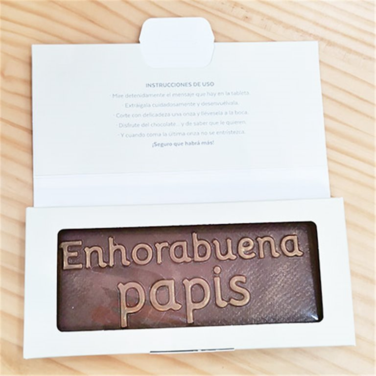 "Tableta de chocolate ""Enhorabuena papis"""